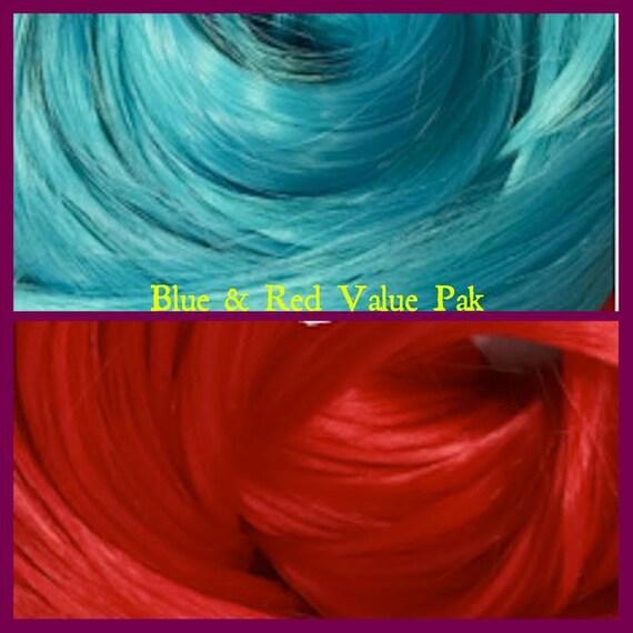 Blue Crush & Red Wedding 4oz 2 Color Value Pack Nylon Doll Hair Hanks for Rerooting Barbie Monster High Dolls and Rehairing MLP Intl Ship