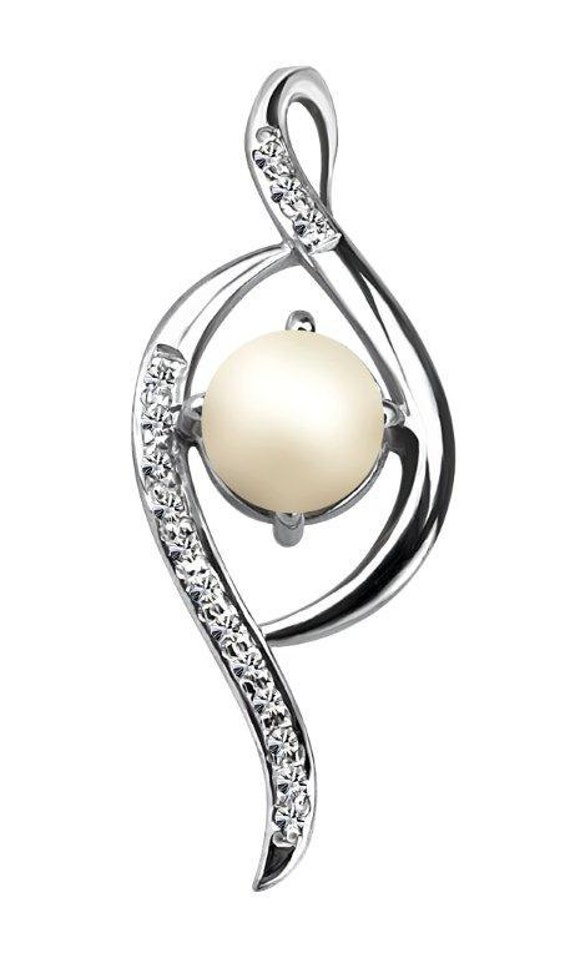 Diamond and Pearl Pendant in 92.5 sterling silver