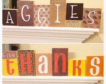 Reversible wooden Fall/Aggie blocks, Aggie decor, fall decor, Thanksgiving decor