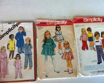 Vintage Simplicity Patterns - 3 kids patterns 5803, 8714, 7061