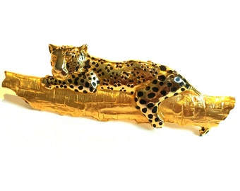 1980's Leopard Gold Brooch Very Detailed-Free Shipping