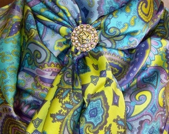 65s - 100% SILK CHARMEUSE - Paisley with Purple, Lavender, Turquoise & Yellow