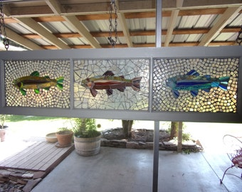Rainbow trout glass mosaic window
