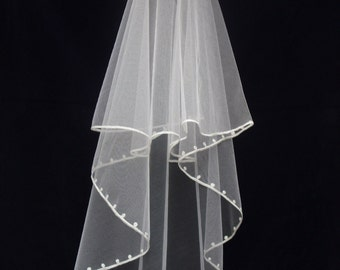 "Wedding Veil - ""Point d'esprit"" pattern - Cornely freehand embroidery - UK made."