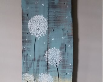 Hand painted Dandelion  barn wood
