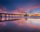 Manhattan Beach Pier Sunset Surf Decor Large Print Art Ocean Los Angeles, South Bay, Manhattan Pier, Redondo, Hermosa Beach Fine Art