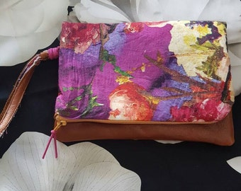 Floral Lust Leather Fold Clutch