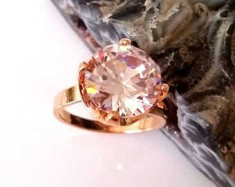 1 Solitaire cocktail ring rose gold plated round cubic zirconia CZ
