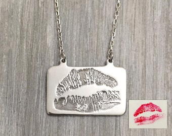 Kiss print necklace, lip print necklace, custom lip necklace, lipstick on a necklace, kiss me necklace, love print necklace, valentines