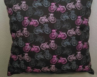 Bicycle Print Throw Pillow-Solid