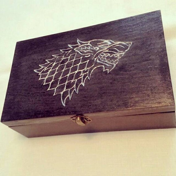 House Stark Sigil Carved Wooden Jewelry Box