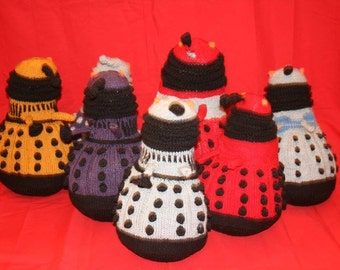 Novelty hand knitted dalek toy