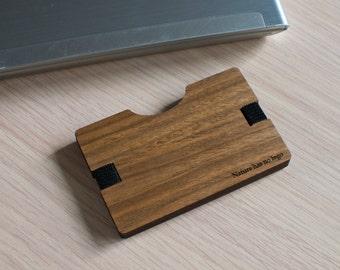 Handmade Wooden Wallet Credit Card Holder Slim Minimalistic Wallet Walnut