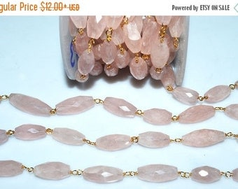 45% OFF Beautiful Rose Quartz Dew Drops Rosary Beaded Chain-Rose Quartz Rosary Chain , 13-22 mm , RB5273