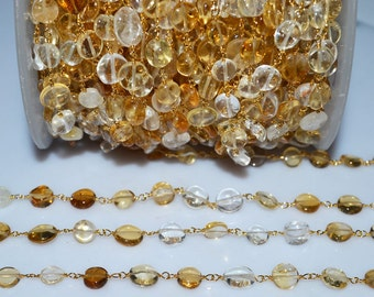 Beautiful Citrine Rosary Beaded Chain-Citrine Smooth Coin Gold Wire Wrapped Beaded Chain , 6-8  mm -RB5194