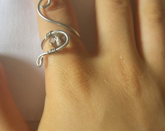 braided ring, wire ring, Adjustable ring, ring with hard stone