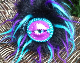 Furry, polymer clay eyed monster art doll
