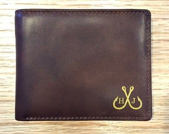 Fishing lure wallet • fishing gifts for men • personalized mans RFID wallet • genuine leather wallet  • Toffee 7751*