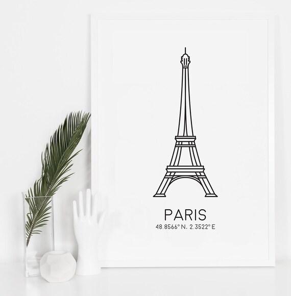 Paris Print Eiffel Tower Print Bedroom Decor Digital Download
