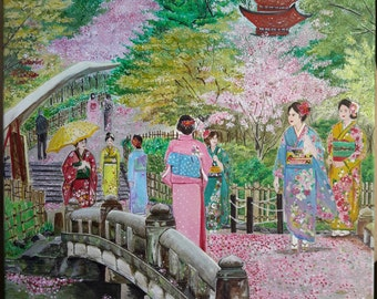 Spring In Japan - Original Acrylic Painting On Canvas - Japanese Landscape With Kimono And Cherry Blossom