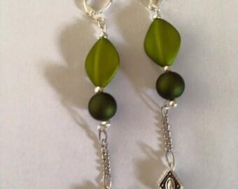 Sage green/silver earrings