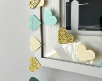 Baby Blue and Gold Heart Paper Garland, Paper Decorations, Paper Garland, Heart Garland