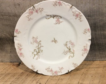 Antique CH Field Plate on Plate Hanger, Haviland Limoges, French Plate, Floral Pattern White Plate
