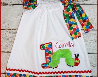 Super Cute Caterpillar Birthday Pillowcase style dress name and age included