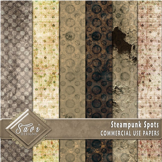 CU Commercial Use Background Papers set of 6 for Digital Scrapbooking or Craft projects STEAMPUNK SPOTS, Designer Stock Papers