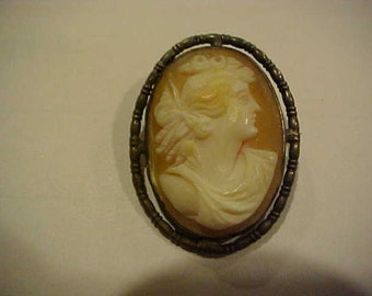 Vintage SHELL CAMEO Pin / Brooch of a Lady in Hand Tooled Silver Setting