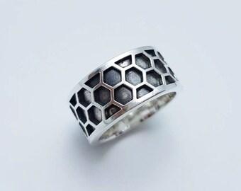Honeycomb Ring, Fashion Honeycomb Ring,925 Sterling Silver, Black
