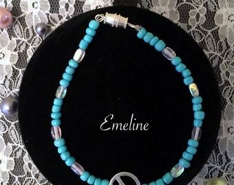 Turquoise Beaded Peace Symbol Bracelet Emeline Design