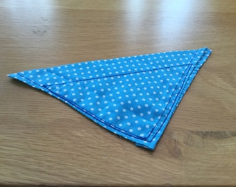 Blue and white polka dot dog bandana