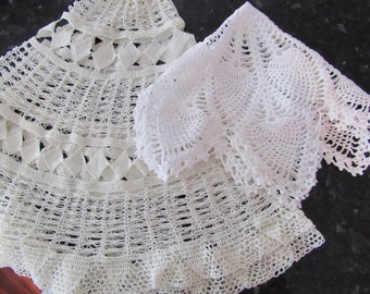 Vintage White Crocheted Large Doily Table Topper
