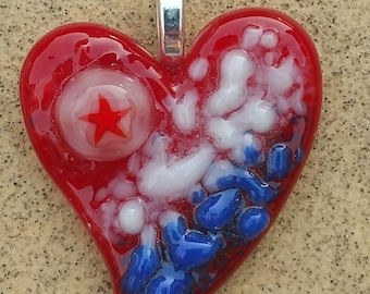 Fused Glass Jewelry Pendant - Heart- Red white blue - USA jewelry