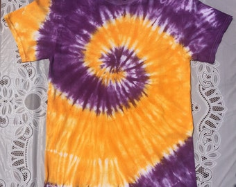 Purple and Gold Spiral Custom  Tie-Dye Shirt
