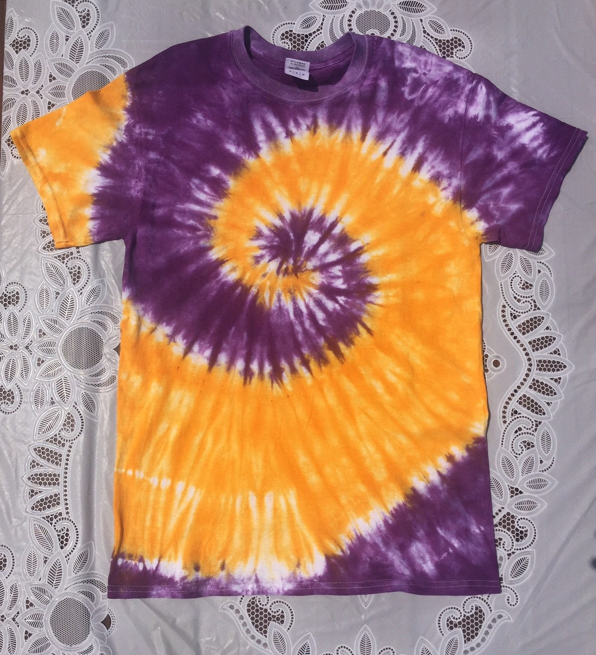 Purple and gold spiral custom tie dye shirt for Customized tie dye shirts
