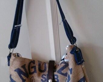 Purse / totebag / satchel re-purposed from burlap coffee bean bag
