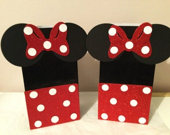 minnie mouse inspired goodie/ favor bags. Set of 10, Minnie Mouse favor bags,minnie mouse goodie bags,