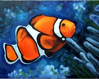 Photorealistic oil painting of a clownfish