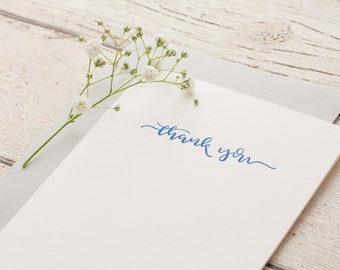 Thank you Calligraphy Letterpressed Greeting Card, Thank you card, Blue Card.