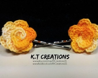 Crochet Flower Hairpins (Set of 2)