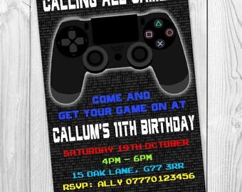 Gamer Gaming PS4 Geeky Personalised Party Invitations Kids Birthday Invites Printable Digital Jpeg File