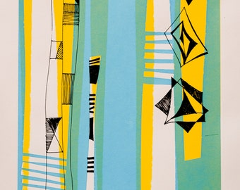 Mid century abstract - original screen print
