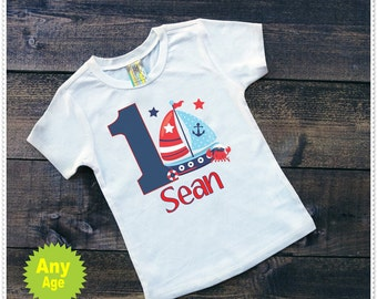 Nautical inspired Birthday Bodysuit or Tee; Bodysuit size 6-24 Month; Tee size 2T and Up; Free Personalization