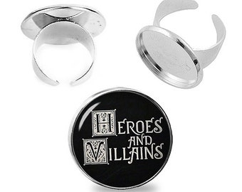 Heroes and Villains Ring Once upon a time Adjustable ring Fandom Jewelry Fanboy Fangirl