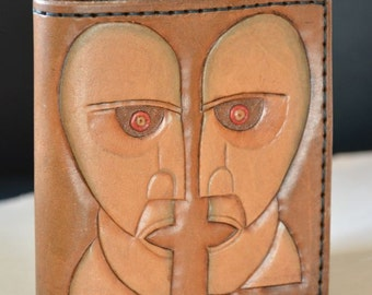 Handmade leather wallet with Pink Floyd, Division Bell