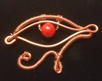 Copper and Howlite (dyed) Eye of Horus Charm