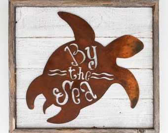 """Rustic Home Decor Turtle """"By The Sea"""" Reclaimed Wood Metal Sign"""