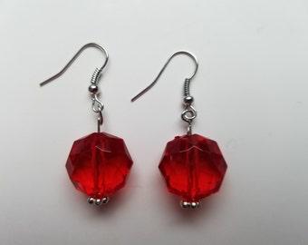 Cherry Red Beaded Earrings